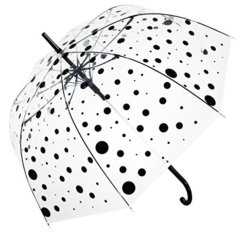 Bloom of London Parapluie Long - Design Anglais Ouverture automatique Pois Paraguas clásico, 75 cm, 100 Liters, Transparente (Transparent)