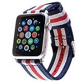 Premium NATO Apple Watch Armband für Apple-Watch | Für 42mm Apple Watch & 38mm Apple Watch inkl. Edelstahl-Adapter (42mm Band in Blau-Weiß-Rot-Weiß-Blau inkl. schwarzem Adapter)