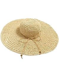 7cda3322dea Imported Women Large Straw Wide Brim Derby Floppy Beach Cap Vacation Hat  Beige