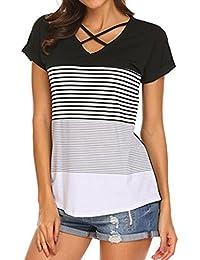 FAMILIZO Camisetas Mujer Manga Corta Camisetas Casual Mujer Verano Rayas Camisetas Mujer Tallas Grandes Camisetas Mujer