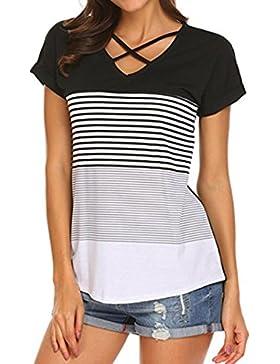 FAMILIZO Camisetas Mujer Manga Corta Camisetas Casual Mujer Verano Rayas Camisetas Mujer Tallas Grandes Camisetas...