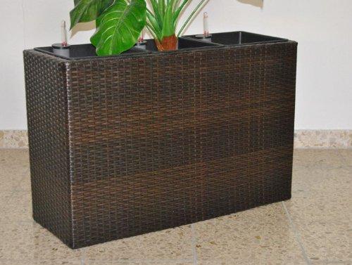 XL Pflanztrog Blumentrog Trennelement Polyrattan als Raumteiler LxBxH 106x40x60cm coffee braun