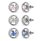 YOURDORA Mujer Pendientes Tous con Aro de Combinación 3 Colores Swarovski Cristal Joyas de Moda Regalo