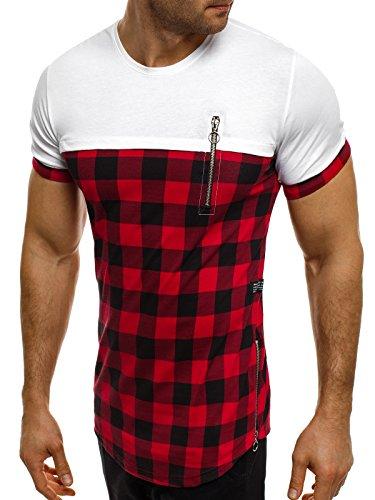 OZONEE Herren T-Shirt mit Motiv Kurzarm Rundhals Figurbetont BREEZY 431T Weiß-Rot