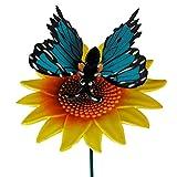 #8: Wonderland Blue Butterfly on Sunflower Garden set of 2 Stakes / sticks (Home & Garden Decor)