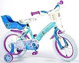 Kinderfahrrad Mädchen Fahrrad Disney Frozen Die Eiskönigin 14 Zoll mit Vorradbremse Rücktrittbremse am Lenker Disney Blau 95% Zusammengebaut