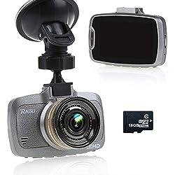 Ragu W23 - Videocámara DVR para coche con 16 GB TF tarjeta, Pantalla LCD 2.7 pulgadas, 170°, resolución 1080P HD, visión nocturna
