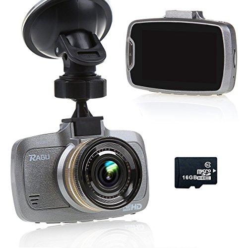 RAGU W23 - VIDEOCAMARA DVR  PARA COCHE CON 16 GB TF TARJETA  PANTALLA LCD 2 7 PULGADAS  170°  RESOLUCION 1080P HD  VISION NOCTURNA