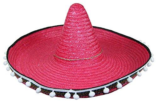 Mexikaner Sombrero mit Troddeln - 60 cm Durchmesser - Rot - Toller Mexiko Hut für Erwachsene zum Kostüm