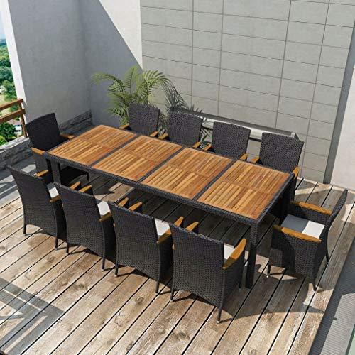 Tidyard 21-teilige Set Garten Essgruppe | Polyrattan Gartengruppe | Gartengarnitur Garten Terrasse Sitzgruppe | inkl. 1 Tisch mit Akazienholz-Tischplatte, 10 Stühle und 10 Sitzpolster