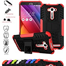 Asus Zenfone 2 Laser 5.0 Funda,Mama Mouth Heavy Duty silicona híbrida con soporte Cáscara de Cubierta Protectora de Doble Capa Funda Caso para Asus Zenfone 2 Laser 5.0 ZE500KL,Rojo