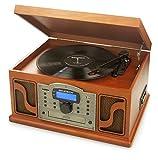 Ricatech RMC250 Deluxe 7 in 1 Music Centre con Funzione di Registrazione | Compatibilità Bluetooth, Giradischi con 3 Velocità e Altoparlanti Stereo Incorporati, Lettore di CD e Cassette, Radio AM/FM e Line-In Entrata per Dispositivi Audio Esterni