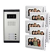 "Amocam 3 Units Apartment Intercom Wired 5 PCS Screen 7"" Monitor Video Intercom Doorbell Door Phone Audio Visual Intercom Entry Access System"