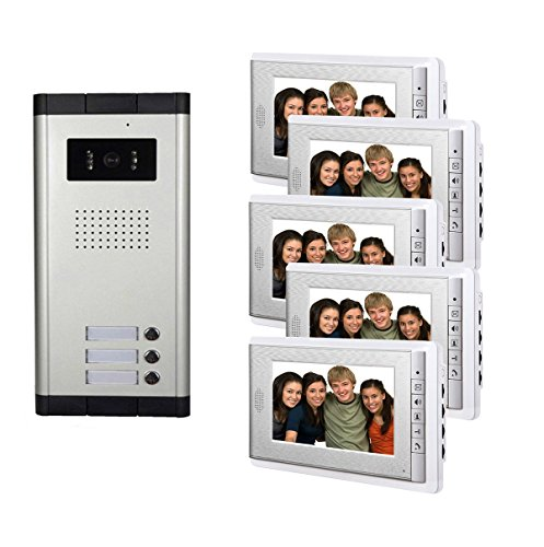"Amocam 3 Units Apartment Intercom Wired 5 PCS Screen 7"" Monitor Video Intercom Doorbell Door Phone Audio Visual Intercom Entry Access System"