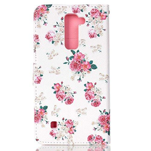 Coque Etui pour LG G Stylo 2 /LG G Stylus 2 LS775, LG G Stylo 2 Coque en Cuir Portefeuille Flip Etui Housse, LG G Stylus 2 LS775 PU Cuir Coque Folio Stand Etui Wallet Case Cover, Ukayfe Etui de Protec Roses