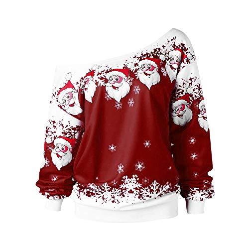 GreatestPAK Frohe Weihnachten, Pullover Damen Santa Claus Schneeflocken Druck Schiefe Kragen Sweatshirt Bluse, Wein,L Baker Usa-sweatshirt