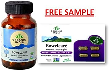 ORGANIC INDIA BOWELCARE 60 CAPSULES BOTTLE WITH FREE BOWELCARE CAPSULE SAMPLES