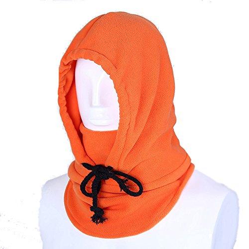 Unisex Passamontagna Sottocasco Termico In Pile Maschera di Protezione Piena Antivento Cappello per Attività All'aperto-Arancia