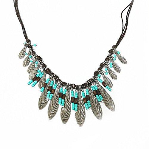 Preisvergleich Produktbild Hosaire 1 Stück Halskette Vintage schmuck Kreativ türkis Quaste Anhänger Necklace Kette