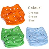 #9: FunBlast® (Pack of 3) Reusable and Adjustable Baby Diapers, Children Cloth Diaper, Reusable Nappies Adjustable Diaper Cover Washable, Available in Different Color (Orange,Green,Blue)