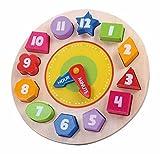 Tooky Toy Kinderspielzeug Lernuhr mit 12 verschiedenen Steck-Formen aus Holz ab 3 Jahren mit Wasserfarbe ca 22x3cm