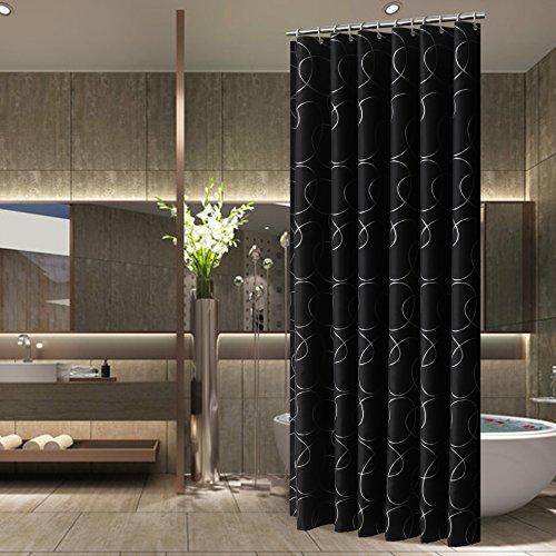 Andopa resistent gegen schimmel Bad Dekorationen duschvorhang für Badezimmer mit perlen Ringe rostfreie duschen und badewannen stall wasserdicht antibakteriell standardgröße 60 X 72 Inch Schwarz - Vorhang Liner Klar Dusche