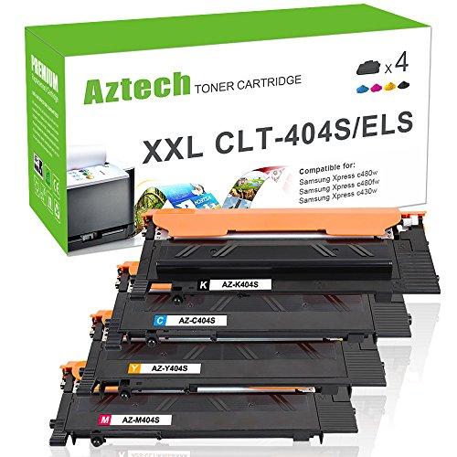 Aztech 4Packs Kompatibel für Samsung CLT K404S P404C CLT-K404S CLT-Y404S CLT-C404S CLT-M404S Toner für Samsung Xpress C480W C480FW C430W Toner Samsung C480 C480W C480FW C430 C430W SL-C480W SL-C480FW -