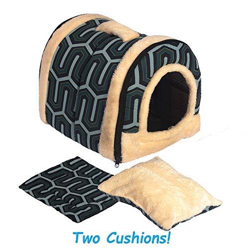 ANPI 2 in 1 Haustier Haus und Sofa, Anti-Rutsch Faltbare Weich Warm Hund Katze Hündchen Kaninchen Haustier Nest Höhle Bett Haus mit Abnehmbarem Matratze, 3 Größen (L, grüne Streifen) - Streifen Matratze