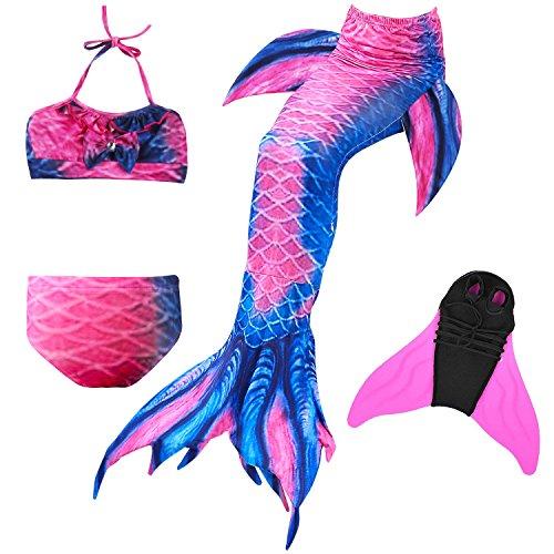 DECOOL 2018 Mädchen Meerjungfrau Schwanz Badeanzug - Prinzessin Cosplay Bademode für das Schwimmen mit Bikini Set und Monoflosse, 4 Stück Set
