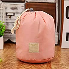 Satyam Kraft Bucket Barrel Shaped Cosmetic Makeup Bag Travel Case Pouch (Peach)