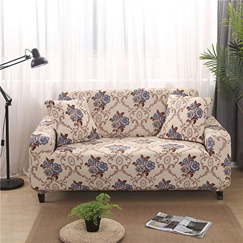 PATNICK Sofa Schonbezug Druck Floral All-Inclusive-Couch-Bezüge Enge Wrap Wohnzimmermöbel Protector Full Cover Sesselbezug,A-3-seater190-230cm(75-90inch) -