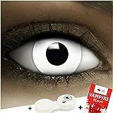 Lenti a contatto colorate'Zombie' + capsule di sangue finto + portalenti per FXCONTACTS bianche, morbide, non corrette, in confezione da due: comode da indossare e ideali per Halloween o Carnevale