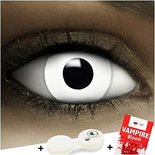 Farbige Kontaktlinsen Zombie MIT STÄRKE -4.50 + Kunstblut Kapseln + Behälter von FXCONTACTS in weiß, weich, im 2er Pack - perfekt zu Halloween, Karneval, Fasching oder Fasnacht