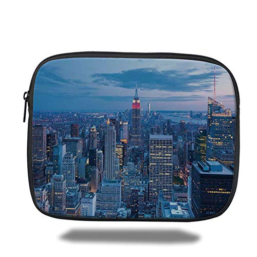 Tablet Bag for Ipad air 2/3/4/mini 9.7 inch,New York,Aerial Night View of NYC with Dusk Sky Cloudy Sunset in City Fashion Capital Art Photo,Blue,Bag - New York-slim Briefcase