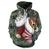 AMIMES Kordelzug Hoodies, Unisex Neuheit Personalisierte Pullover 3D Printed Pullover mit Taschen for Jungen und Mädchen Weihnachtsabendkleid