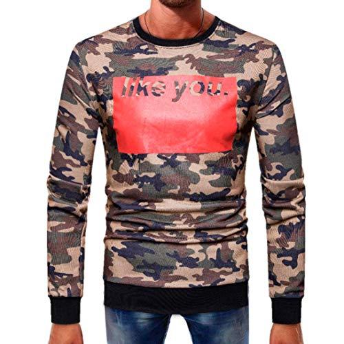 CICIYONER Herren Top Bluse, Männer Lange Ärmel Spleißen Taste Basic Solide Tarnung Bluse Abschlag Hemd Oben