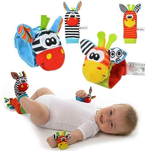 Weiche Baby Socken (EXQULEG 4 x Cute Animal Infant Baby-Kind-Kind weiche Handgelenk Fußsocken Rattle für 0-12 Monate Baby (2pieces Handgelenk + 2pieces Socken) (A))