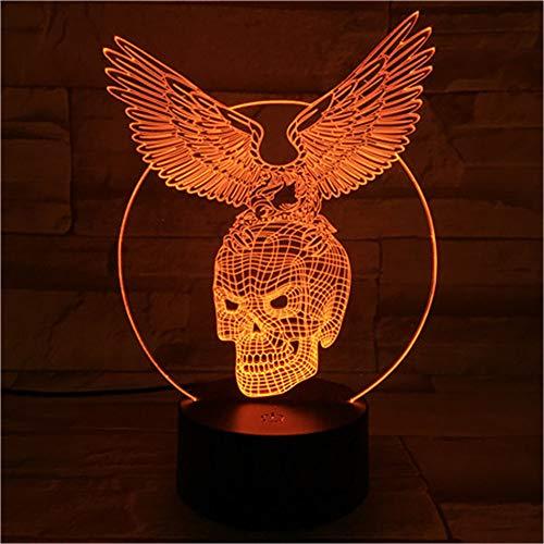 Halloween Geschenk Bar 3D Nachtlicht 7 Farben Ändern LED Schreibtisch Tischlampe Acryl Illusion Schädel Flügel Atmosphäre ()