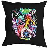 Einzigartiges Kissen mit Füllung und trendy Neon Motiv: kreativer Hundekopf