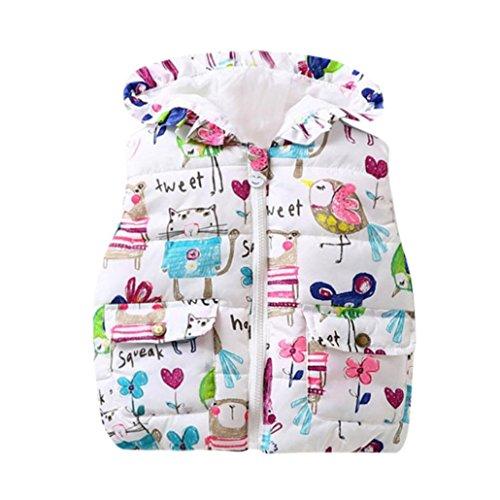 Babykleidung,Sannysis Kinder Baby Mädchen Kapuzenjacken Baby Zipper Kleinkind Warm Weste Kleider Mantel 0.5-4Jahre (100, Weiß) (Baby-kleid-mantel)
