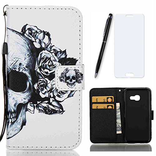 Coque Samsung Galaxy A5 2017 , Lotuslnn PU Leather Wallet Case Etui with TPU Protector Back Cover Housse pour Samsung Galaxy A5 2017 / SM-A520F [Samsung Galaxy A5 2017 verre trempér+Stylus Pen] - White Skull