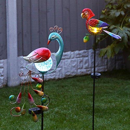 2er Pack: solarbetriebene Garten Leuchte im Papageien- und Pfau-Design, aus mehrfarbigen Metall mit effektvoller LED Beleuchtung, von Festive Lights (Metall-tier)