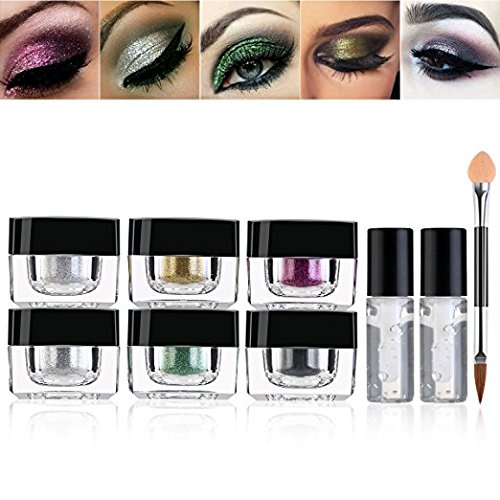 RUIMIO Glitter Powder 6 Colors with Glitter Fix Gel and Brush for Eyeshadow, Makeup, Nail Art