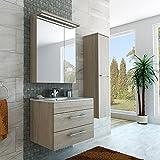 Luxus Badmöbel in Hellbraun Holzoptik 75 cm breite / Schrank mit Spiegel, Waschbecken und Hochschrank