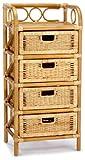 Hansen Korb 2439/4 Rattanregal mit 4 Schubladen, B 45 T 35 H 95 cm, honig