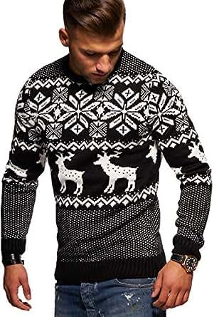 Rello & Reese Herren Strickpullover Norweger Pullover Sweatshirt RS-1048 [Schwarz, M]