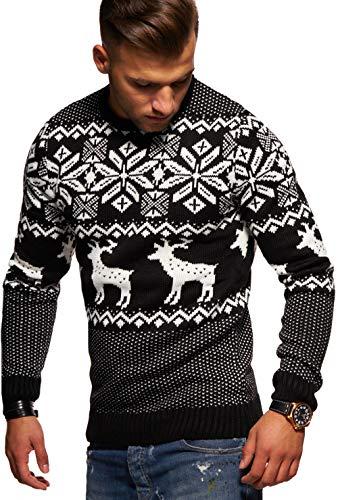 Rello & Reese Herren Strickpullover Norweger Pullover Sweatshirt RS-1048 [Schwarz, L]