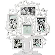 Innova PI07217 - Marco de Fotos múltiple Resina 6 Fotos Blanco árbol Familiar plástico ...