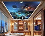 Rureng Avanzada Pintura Decorativa Papel De Pared Cosmos Sistema Solar Techo Mural 3D Papel Tapiz De Fondo Mural-200X140Cm
