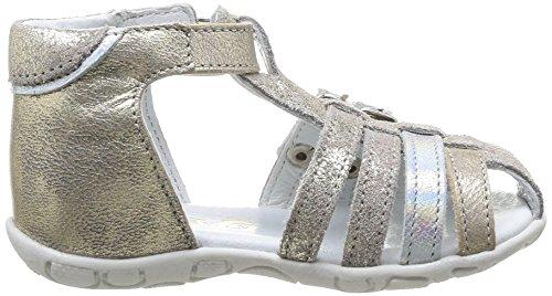 GBB Idaia, Chaussures premiers pas bébé fille Argent (13 Vtc Beige/Argent/Zabou)